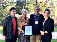 L to R Geraldine Moore, Judy Carroll (both BRASA), Mayor Councillor Laurence Evans and Rebecca Eckard, Refugee Council of Australia.